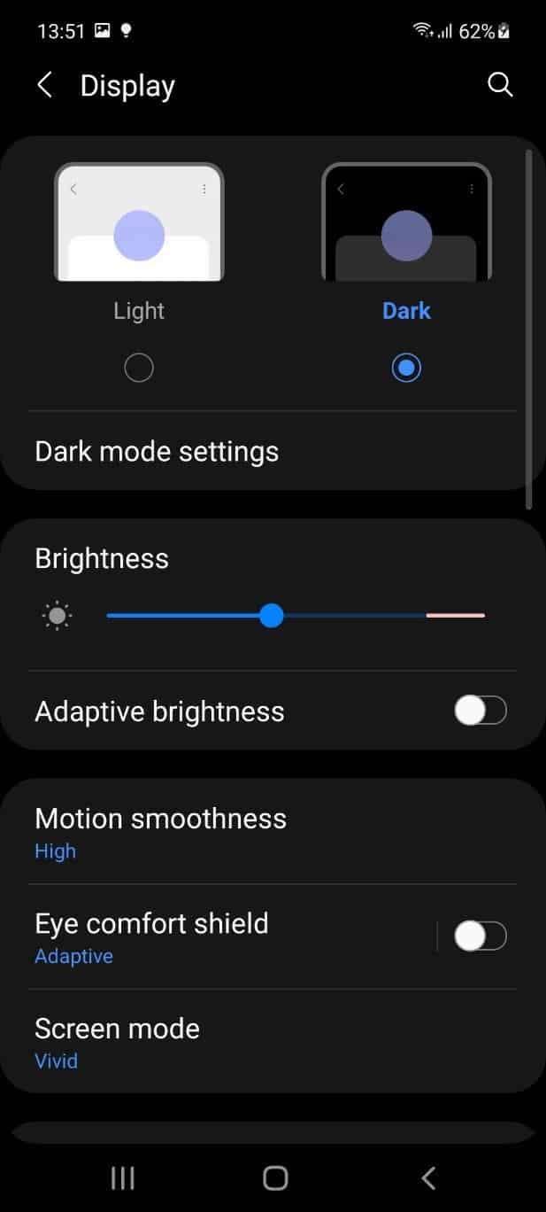 تنظیمات صفحه نمایش a52s