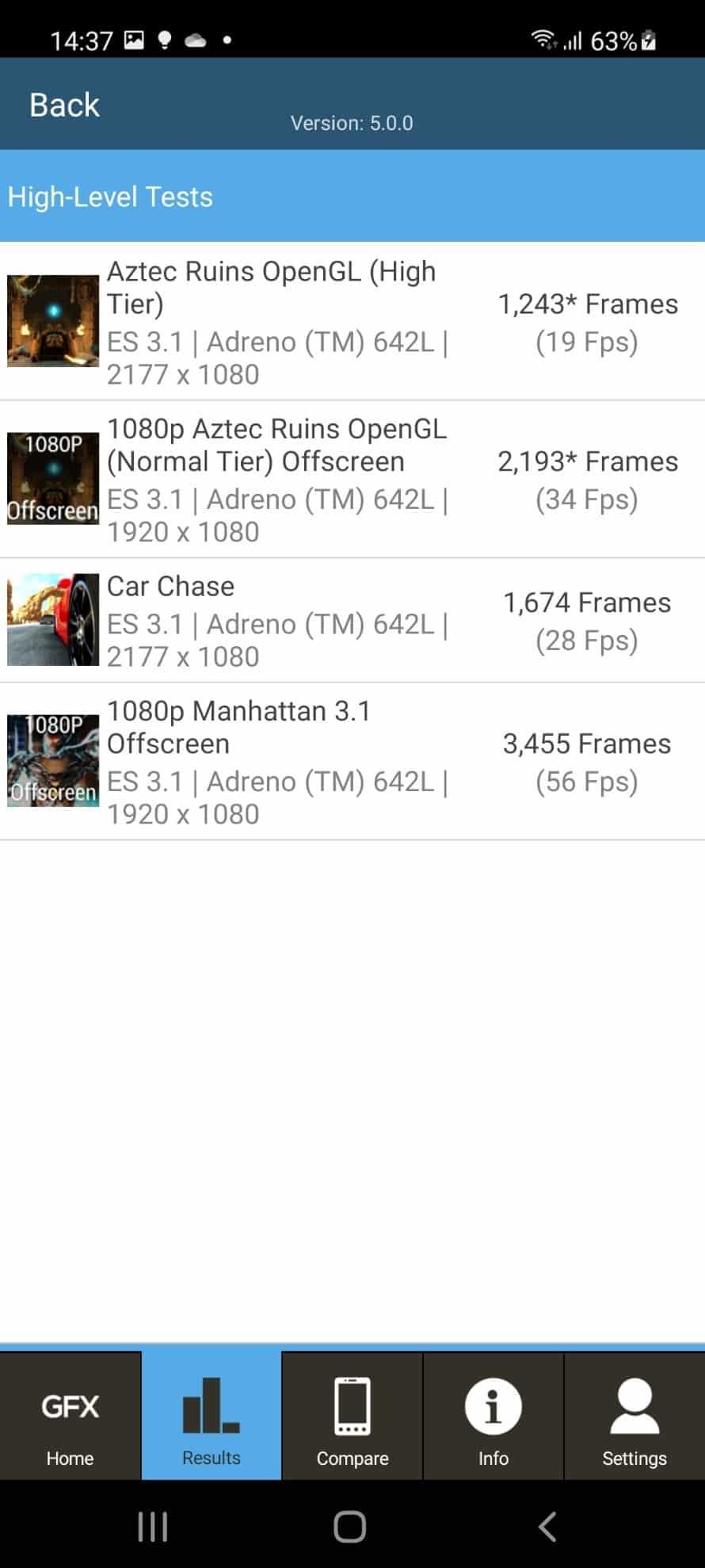 GFX benchmark گوشی A52s 5g