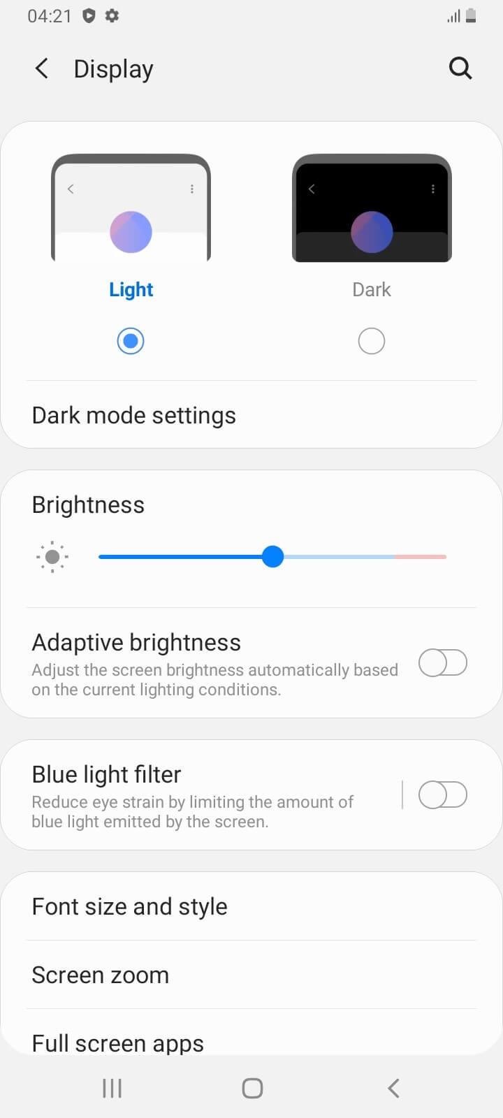 تنظیمات صفحه نمایش گوشی a12