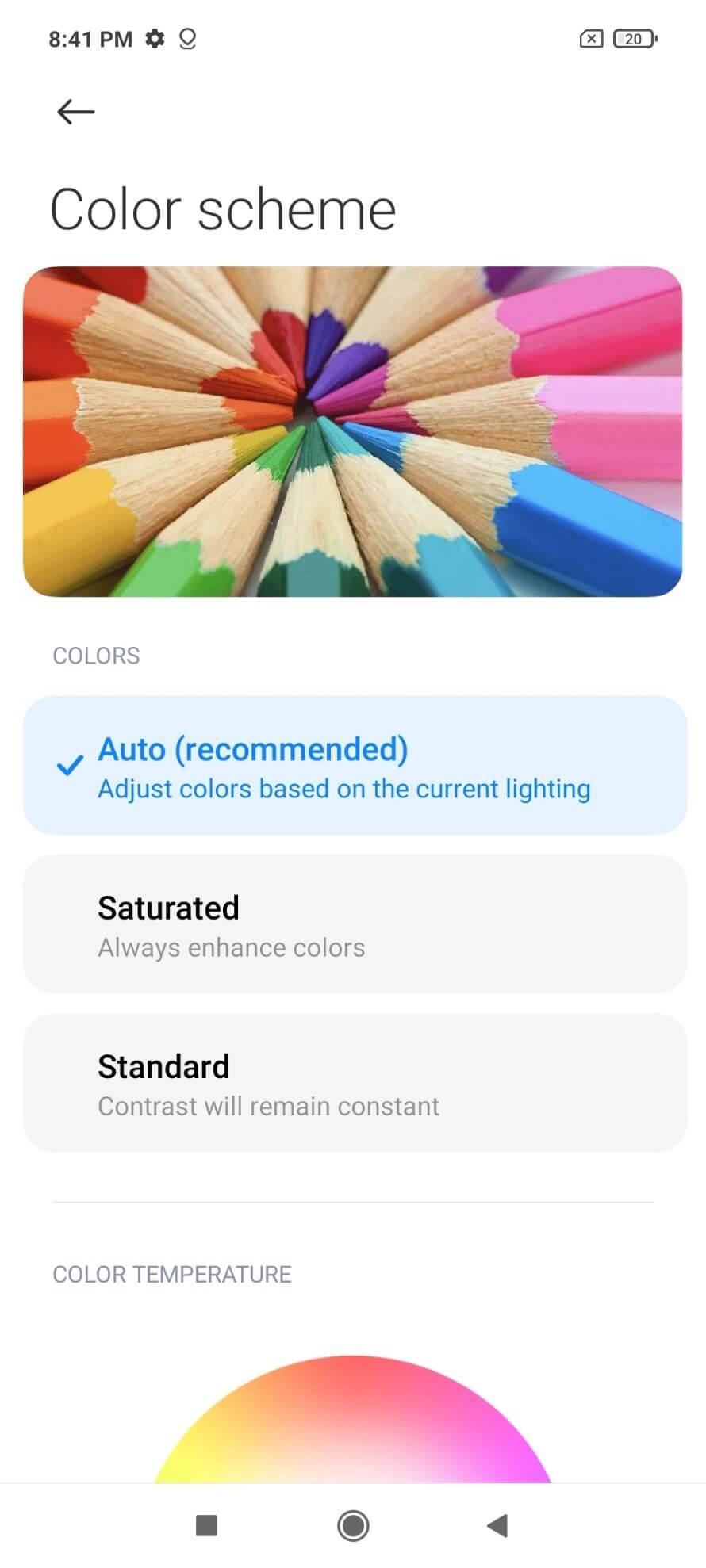 تنظیمات رنگ صفحه نمایش poco x3 nfc